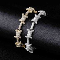 Hip Hop Jewelry Staggered Pattern Length x Knot Gold Silver Color Prong Setting Aaa Cubic Zircon 6times Plating Bracelet