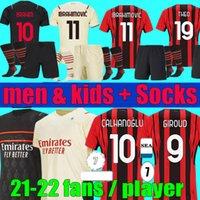 Versión de jugadores Versión AC 21 22 Milan Ibrahimovic Soccer Jerseys Brahim Rebic Men Kids Set 2021 2022 Girud Bennacer Tonali Maignan Theo Football Kit Uniforme