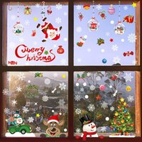 Wall Stickers Snowflake Window Door Christmas Decoration For Shop Mall Party DIY Santa Claus Reindeers Decals Natal