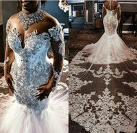 2021 Sheer Mesh Top Lace Mermaid Wedding Dress Tulle Appliqu...