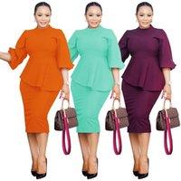 Party Dresses Office Women Solid Ruffles Dress 2021 Puff Sleeves Turtleneck Irregular Nightclub Patty Bodycon Knee Length Sexy Lady