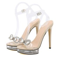 Sandals Est Fashion PVC Transparent Crystal Rhinestone Butterfly-knot Women Open Toe Ankle Buckle Strap Thin High Heels Shoes