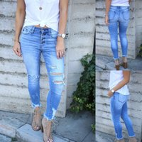 Women's Jeans Amazon Ebaywish Style Ladies Cross-border Water Hole In The Spring And Summer Of Tall Waist Tight