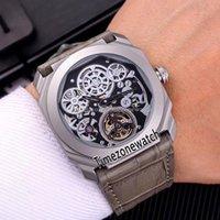 Octo Finissimo Tourbillon Titanium Steel Case 102719 BGO40PLTBXTSK هيكل عظمي أوتوماتيكي رجالي ووتش رمادي جلد حزام جديد ساعات Timezonewath