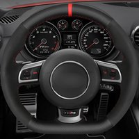 Auto-Lenkradabdeckung Schwarzes Echtes Leder Wildleder für Audi TTRS 2009-2014 R8 2010-2015 RS3 (8P) 2011-2014 RS6 2008-2010