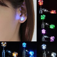 Women Men LED Gadget Fashion Jewelry Light Up Crown Crystal Drops Creative Modern Lighting Earrings Retail Package