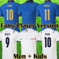 2021 İtalya Beyaz Uzaktan Futbol Forması Barella Sensi Insigne 21 22 Avrupa Kupası Renaissance Chiellini Bernardeschi Italia Futbol Gömlek Erkekler Kids Kits Üniformalar