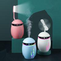 Creative Home 3 em 1 LED Night Lights Umidificador Difusor Essencial Aroma Lâmpada Mini USB Ventilador Aromaterapia Air Refrogerador Fogge