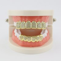 Red blue Diamond Glaze Grillz Teeth 18K Gold Plated Dental Grills Hip Hop Bling Body Jewelry for Men Fashion Silver Gold Will and Sandy