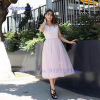 Party Dresses Vestidos De Novia Summer Wedding Dress Lace Appliques Scoop Neck A-Line Long Sleeves Tea Length Bridal Gown 2021 Robe Mariée