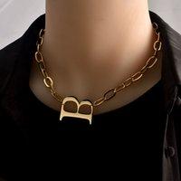 YHPUP 고품질 스테인레스 스틸 문자 B 여성을위한 펜던트 목걸이 금속 체인 초커 목걸이 성명 쥬얼리 2020 606 Q2