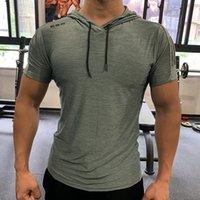 Green Gym Sport Mit Kapuze Running T-shirt Fitness Slim Hohe Elastizität Atmungsaktiv Schnelltrockner Bodybuilding Herren Tshirt Männer T-Shirt Tops