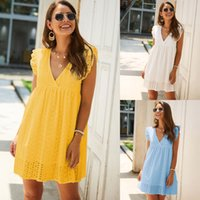 Women Casual Ruffle Mini Dress 2021 Summer Fashion Hollow Out Solid Color Dress Sexy V Neck Loose Dresses For Ladies Beach Dress