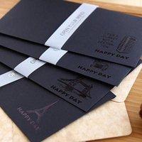 Biglietti d'auguri 5 pz 19.6 * 10.5 cm Vintage Black Craft Bustefules per inviti a partito Posta Cartolina Scrapbooking messaggio regalo