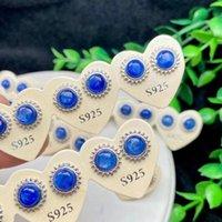 Stud 10 Paia 925 Argento in pietra naturale Kyanite orecchino rotondo per le donne Party wedding gioielli bei gioielli fascino orecchini orecchini