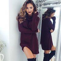 여성 스웨터 드레스 가을 겨울 긴 소매 니트 Turtleneck 두꺼운 따뜻한 슬림 Vestido de Festa