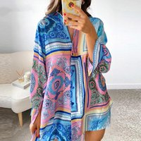 Casual Dresses Summer Dress Y2K Print Shirt 2021 Long Sleeve Blue Loose Beach Sexy Party Women Green Clothing