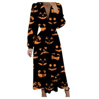 Casual Dresses SAGACE Pumpkin Skull Printed Long Slevee Vintage Halloween Party Dress Women Sexy Low Cut High Waist Robe Vestidos