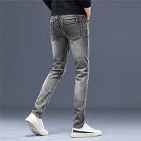 Autumn Mens Jeans Designer Trousers Business Leisure Pants Cotton Slim-leg Elastic Fashion Classic 2021 2022 Style Pant Denim Male Dark Grey Color Puls Size W28-W38