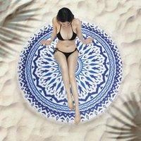 Mandala Beach Towel Round Beach Blanket Polyester Printed Tablecloth Bohemian shawl Sun protection Tapestry Yoga Mat Covers Shawl Wrap Picnic Rug 150cm in diameter
