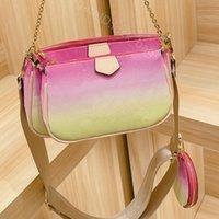 2021 Sommer Klassische Farbverlauf Farbe Frauen Tasche Drei in einer Dame Mode Handtasche Damen Handtaschen Kreuz Körper Brieftasche Umhängetaschen Geldbörse