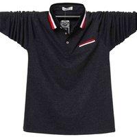 Camicia da uomo Polo autunno autunno manica lunga camicia di cotone polo di cotone moda corea casual striscia di grandi dimensioni 6xl polo camicie da uomo Top tees 210401
