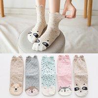 5 Pairs Cotton Women Tube Socks Set Female Casual 3D Socks Cartoon Harajuku Animal Cat Dog Unicorn Gift Cute Kawaii Girls Winter