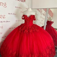 Modest 3D Floral Flowers Red Quinceanera Prom Dresses Crystal Rhinestones Tulle Off the shoulder 2022 Lace Long Party Formal Sweet 16 Dress Vestidos 15 Anos