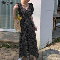 Summer Dress For Women 2021 Puff Sleeve Floral Square Neck Korean Sweet Robe Femme Elegant Ins Fashion Vestidos Dresses Party