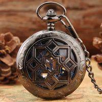 Multilateral Rhombus Hollow Flowers Case Hand Winding Mechanical Pocket Watch Retro Blue Skeleton Dial FOB Chain Luxury reloj