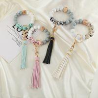 Party Favor Silicone Bead bracelet key ring anti loss wood women Tassel keys chain 9 style DD592