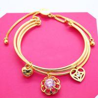 Luxury Fashion Light Luxury Niche Design Sense Pink Flower Hollowed Out Love Three-layer Pull Bead Adjustable Bracelet