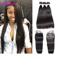 Indian Viagin Hair 5x5 Closure With Bundles Raw Indian Straight Hair Bundles With Lace Closure Remy Human Hair 3 4 Bundles With Closure