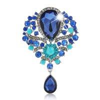 Pines, Broches Fashion CRISTAL RHINESTONE GRANDE Lágrima para las mujeres Brooch Pins Accesorios de joyería Regalos