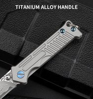 Spot Titanium Alloy Mini Folding Knife High Hardness Folding Knife Damascus Steel Outdoor EDC Portable Knife