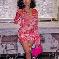 Abiti casual 2021 Bandana rosa Mesh BodOCN Dress Abiti da club per le donne a maniche lunghe a maniche lunghe con scollo a V Stringa mini