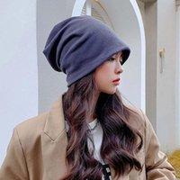 Beanies Women Thin Caps Simple Solid Rolled Hem Hat Blends Soft Knit Wool Winter Warm Skullies