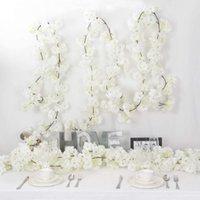 Flores decorativas grinaldas 2 pcs Artificial flor de cerejeira videira branco pétala para sempre plantas festão para decoração de casa Jardim de festa de casamento
