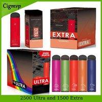 Ekstra Ultra 1500 veya 2500Puffs Önceden doldurulmuş E Sigaralar Tek Kullanımlık Vape Kalem 6 ML ve 9 ML Elektronik Çiğ Seti 850mAh Pil Yüksek Kaliteli Buharlar
