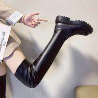 Schwarze Wohnung über den Kniestiefeln Frauen Schuhe Plattform Oberschenkel Hohe Winterschuhe Lange Stiefel Womme Dicke Sohle Botas Mujer