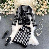 Two Piece Dress Singrain conjunto feminino outono inverno de malha com manga longa + saia elástica cintura alta duas peças L24C