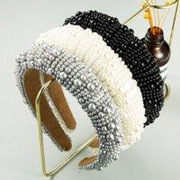 جديد وصول جميلة الإسفنج عقال custely مغطاة لون نقي تصميم اللؤلؤ الاصطناعي الفاخرة النساء الشعر الفرقة