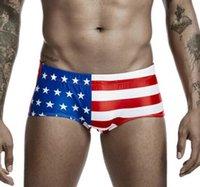 مثير رجل السباحة جذع الولايات المتحدة المملكة المتحدة كندا العلم الوطني المطبوعة المايوه الرجال شاطئ السراويل الذكور ملابس السباحة سونجا مجلس جانبي 00802