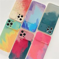 Watercolor Ink Trunk Pattern Phone Cases For iPhone 12 Xs 11 Pro Max X Xr 8 7 Plus Fashion Slide Camera Lens Full Protection Cover