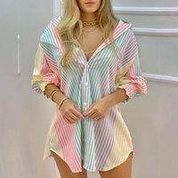 Günlük Elbiseler Kadın Gömlek Elbise Moda Çizgili Baskı Lady Uzun Kollu Bluz Açın Yaka Dantelli Düğme Ön Tops