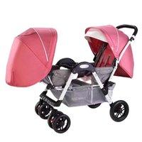 التوأم عربة طفل الرباعي أربع عجلات -Absorbing يمكن الجلوس والتوفي أجزاء أجزاء عربة مزدوجة