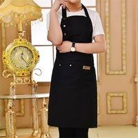 Cocina de color puro delantal de cocina para mujer hombres chef camarero cafetería tienda bbq peluquero delantales personalizado regalo baberos al por mayor 210625