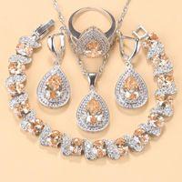 귀걸이 목걸이 10 색 웨딩 쥬얼리 세트 워터 드롭 트렌디 한 의상 샴페인 지르코니아 및 여성을위한 반지 팔찌