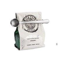 الفولاذ المقاوم للصدأ الأدوات القهوة القهوة المقاوم للصدأ قياس ملعقة مغرفة مع حقيبة ختم كليب مطبخ المعادن ملاعق OWE6224