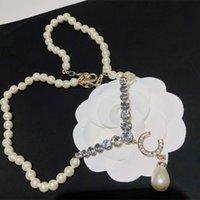 여자 디자이너 목걸이 진주 목걸이 여성 다이아몬드 황동 유리 크리스탈 편지 활 나비 간단한 럭셔리 우아한 habbly